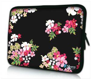 Laptophoes 11 inch gekleurde bloemen Sleevy