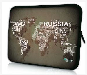 Sleevy 11.6 inch laptophoes macbookhoes wereldkaart & namen