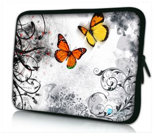Laptophoes 13 inch oranje vlinders Sleevy