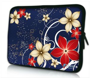 Sleevy 13,3 inch laptophoes rode beige bloemen