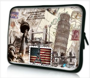 laptophoes 14 inch wereld monumenten sleevy