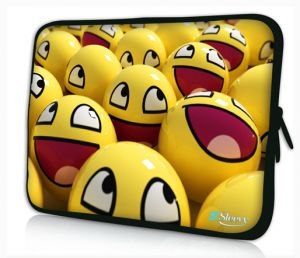 laptophoes 14 inch gele smileys sleevy