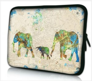 Laptophoes 14 inch wereldkaart olifanten - Sleevy