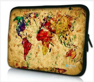 Laptophoes 14 inch wereldkaart - Sleevy