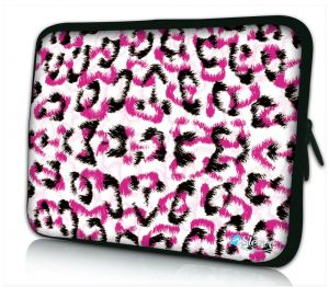 Laptophoes 14 inch witte panterprint Sleevy