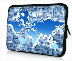Sleevy 15,6 inch laptophoes blauwe wereldkaart