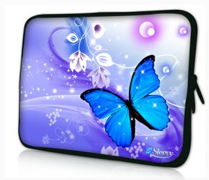 Sleevy 15,6 inch laptophoes blauwe vlinder
