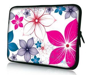 laptophoes 14 inch fleurige bloemen sleevy
