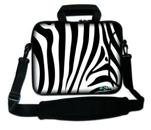 Sleevy 15,6 inch laptoptas zebra print