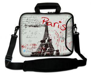 laptoptas 15 inch postcard Paris grijs Sleevy