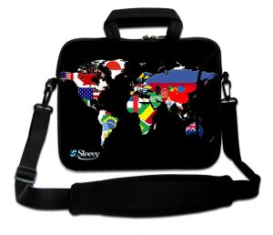 laptoptas 15 inch wereldkaart en vlaggen Sleevy