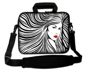 Sleevy 15.6 inch laptoptas artistieke vrouw zwart/wit