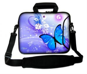 Sleevy 15.6 inch laptoptas blauwe vlinder