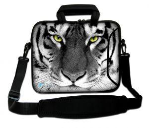 Sleevy 15,6 inch laptoptas witte tijger