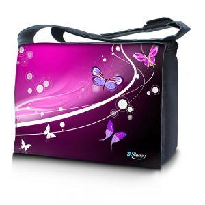 Sleevy 15,6 inch laptoptas paarse vlinders