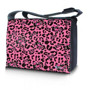 Sleevy 15,6 inch laptoptas roze panterprint