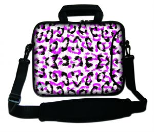 Sleevy 15,6 inch laptoptas witte panterprint