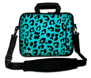 laptoptas 17 inch blauwe panterprint Sleevy