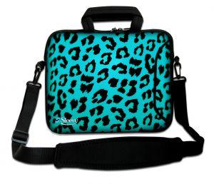 laptoptas 17 inch blauwe panterprint Sleevy