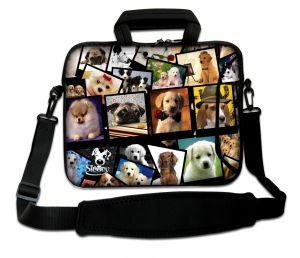 Sleevy 17.3 inch laptoptas collage hondjes