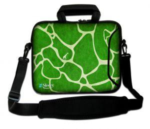 Sleevy 17,3 inch laptoptas groene giraffe print
