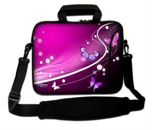Sleevy 17,3 inch laptoptas paarse vlinders