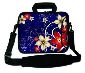 Sleevy 17,3 inch laptoptas rode/beige bloemen