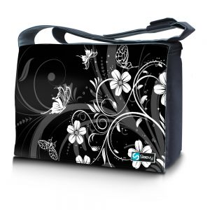 Messengertas / laptoptas 17,3 inch witte bloemen - Sleevy